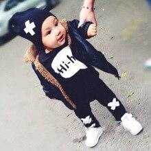 Осенние комплекты одежды для малышей хлопковая футболка с длинными рукавами и надписью и штаны для малышей-SAY Hi Babe
