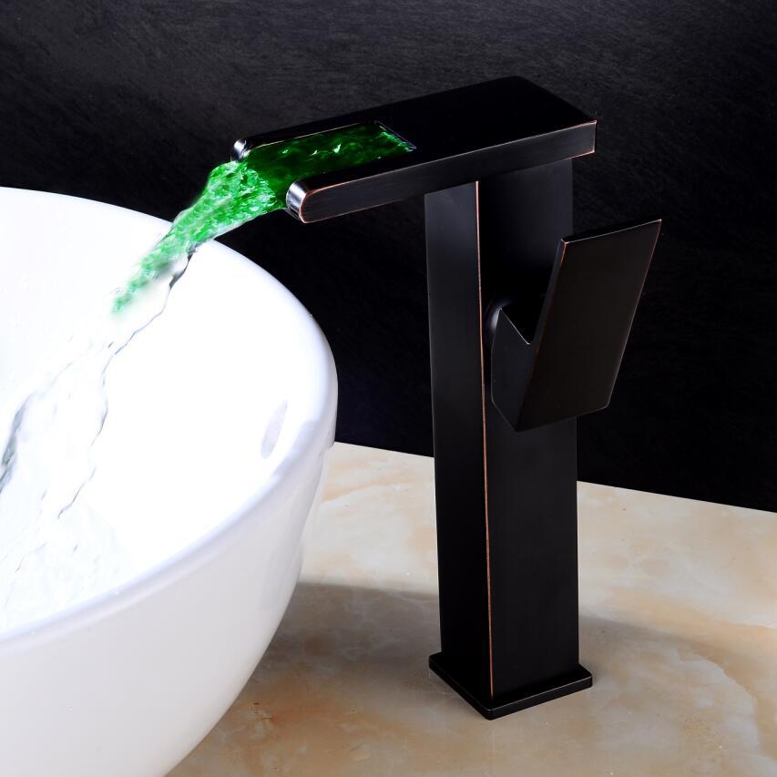 BAKALA D'eau Alimenté LED Salles de Bains noir bassin robinet Haute cascade bassin mélangeur En Laiton Lavabo robinet d'eau Chaude Froide Grue Bassin Du Robinet