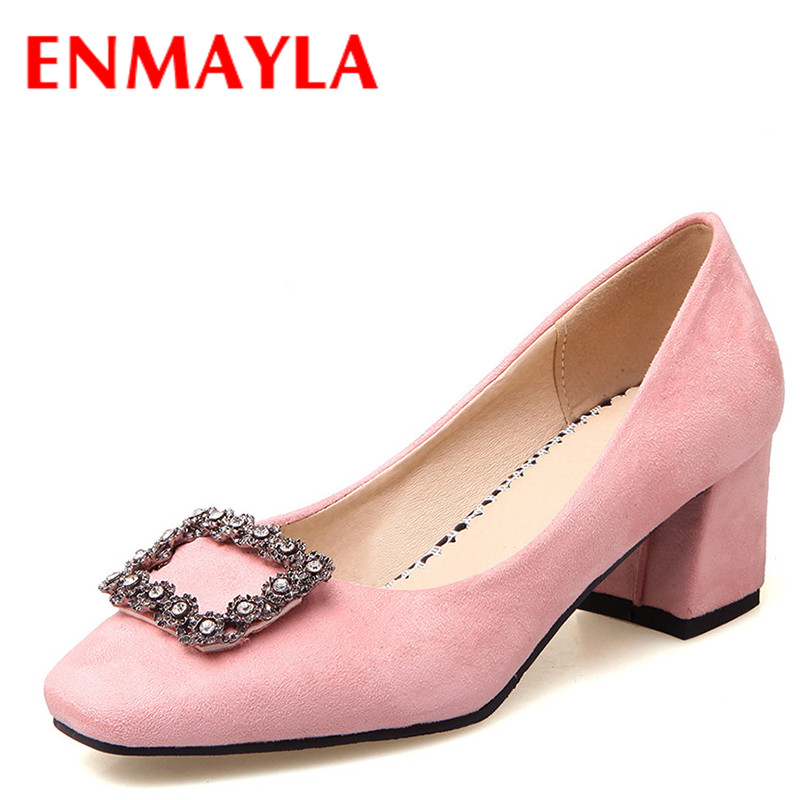 ФОТО ENMAYLA Party Shoes Woman High Heels Pumps Crystal Charms Slip-on Shallow Sweet Pink Black Beige Plus Size 34-43 Shoe in Womens