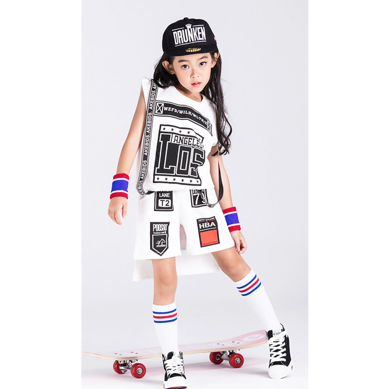 New Children Girls hip-hop Costumes Sets White Letter Kids Boys Jazz/Street dance Clothes Halloween Party Clothing