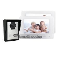 Buy FREE SHIPPING BRAND 7″ Color Screen Video Door phone Doorbell Intercom 1 Waterproof Door Bell Camera 2 White Monitor WHOLESALE