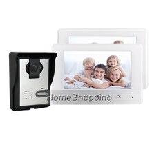 FREE SHIPPING BRAND 7″ Color Screen Video Door phone Doorbell Intercom 1 Waterproof Door Bell Camera 2 White Monitor WHOLESALE