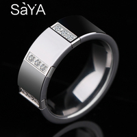 2018 New Arrival Man's Tungsten Carbide Rings Jewelry for Party 8mm Width High Polished with 9pcs White CZ Stones Comfort Fit