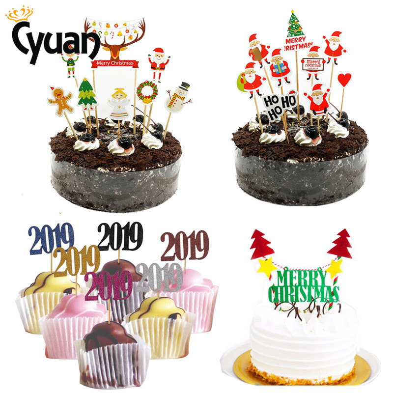 2019 Merry Christmas Cake Topper Number Cupcake Topper New