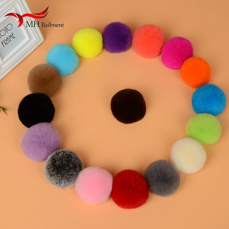 Handmade Products Real Rex Rabbit Fur Grass Ball Diameter 5/6/8cm Hair Ball Key Ring Mobile Phone Shell Diy Accessories