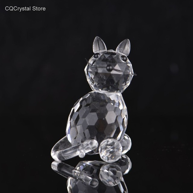 Lovely Glass Cat Figurines & Miniature  Craft Cut Crystal Animal Ornament Home Table Decor Wedding Decor Xmas Gifts