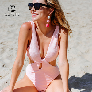 Image 4 - CUPSHE Pink Shine For U Solid One piece Swimsuit Women V neck Bow Hollow out Plain Monokini 2020 Girl Beach Cute Swimwear