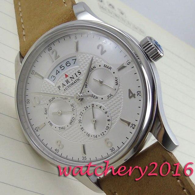 32c737284ee Parnis 42mm mostrador branco Pulseira de Couro de camelo miyota 9120  Movimento Automático data dia Relógio