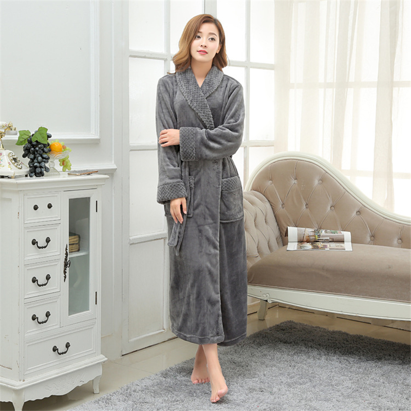 Warm Female Winter Thick Flannel Bathrobel Hot Sale Coral Fleece Long Plus-size Robes Women Warm Chinese Kimono Bath Robes