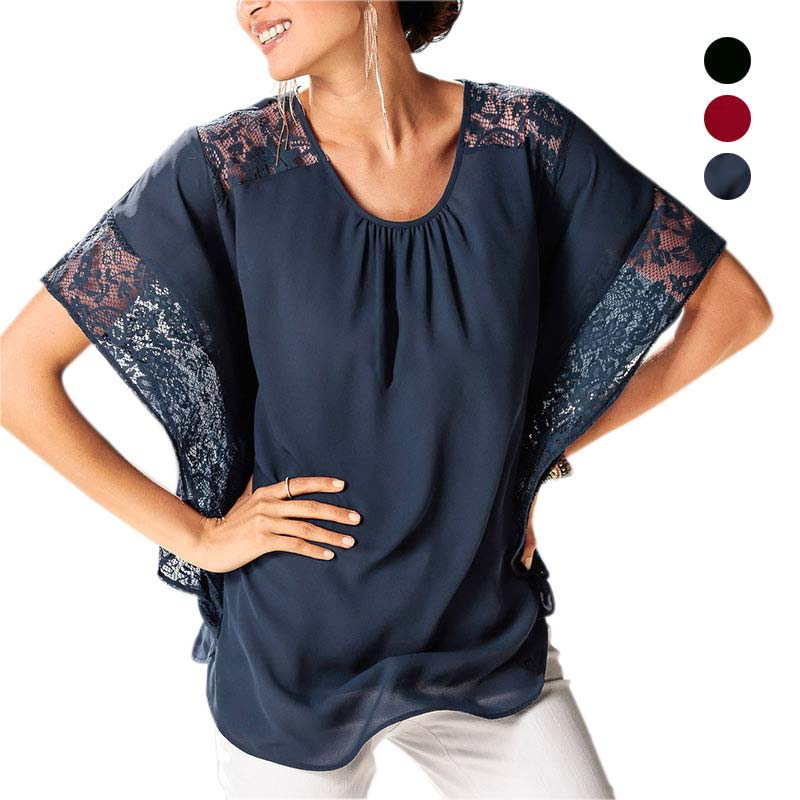 Summer Women Chiffon Patchwork Lace Blouse Solid Shirts Batwing Short Sleeve Casual Loose Tops New