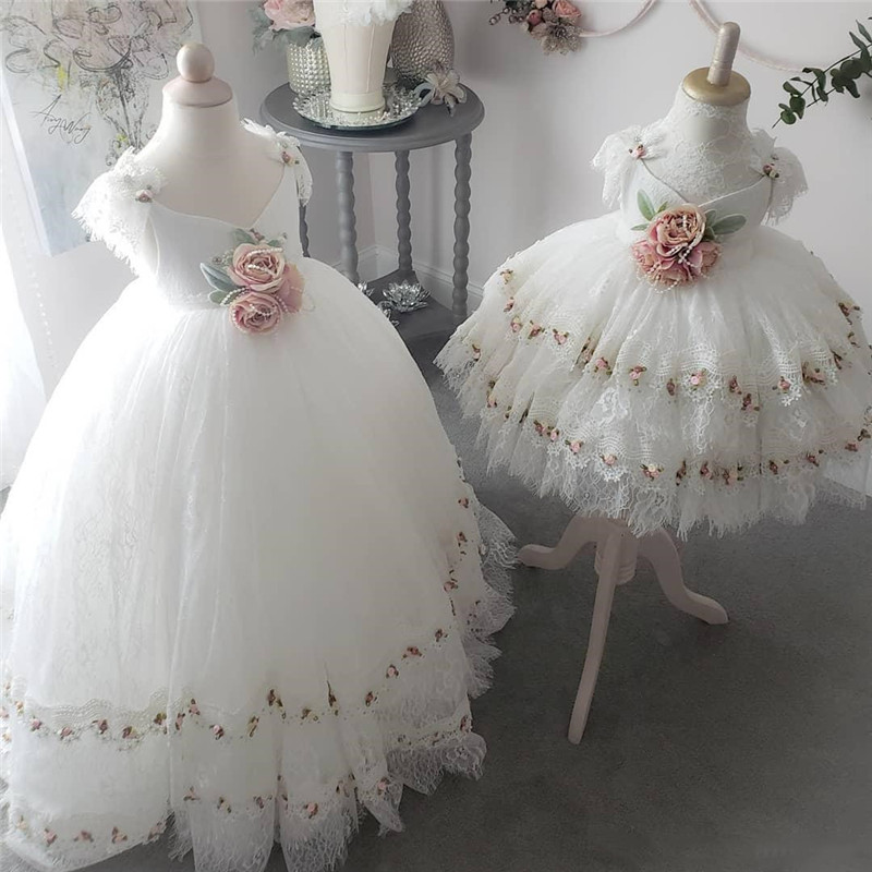 High Quality White Lace Flower Girl Dresses First Communion Dress for Little Girls Lace V Neck Puffy Tulle Kids Birthday GownHigh Quality White Lace Flower Girl Dresses First Communion Dress for Little Girls Lace V Neck Puffy Tulle Kids Birthday Gown