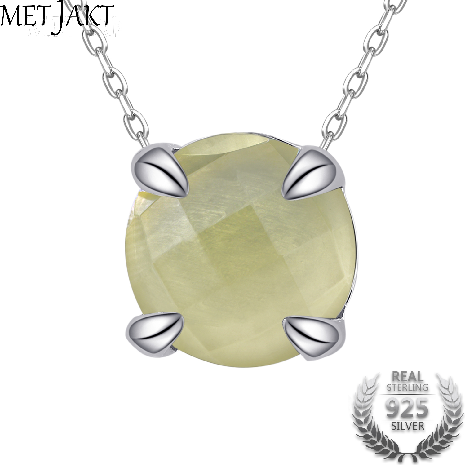 MetJakt Classic Natural Gemstone Citrine Pendant Necklace Solid Adjustable S925 Sterling Silver Chain for Women s