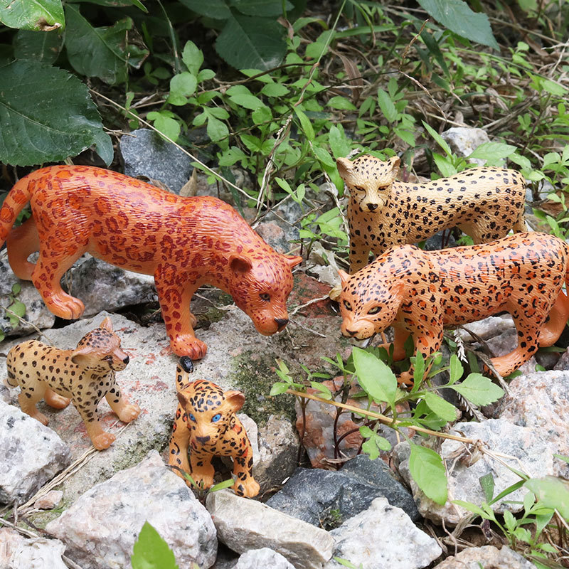 1pcs 5kinds African Leopard Animal Plastic  Model Vivid Birthday Gift Children Favorite  Early Education Toys