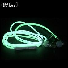 어두운 이어폰에 m & j 고품질 금속 광선 빛나는 헤드폰 밤 빛 빛나는 헤드셋 마이크와 스테레오 스포츠 헤드폰