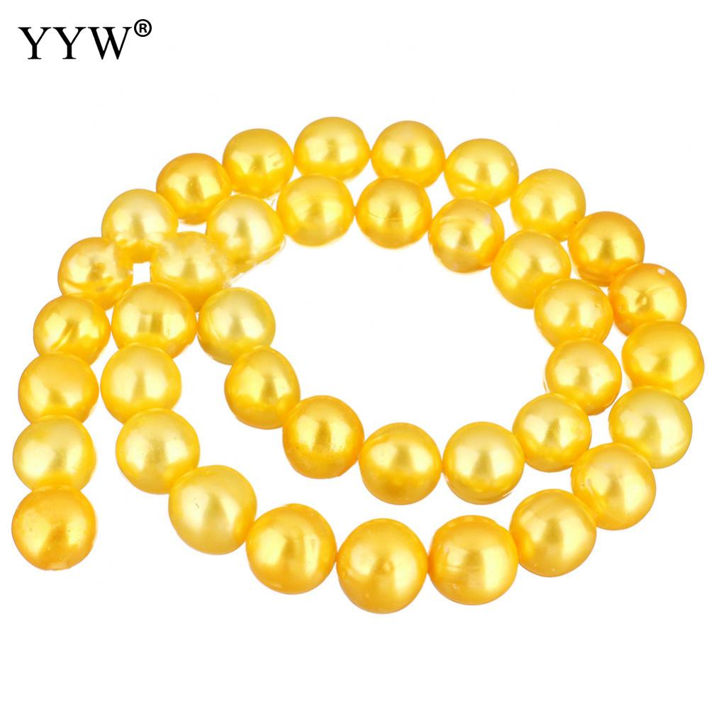 Potato Cultured Freshwater Pearl Beads Cute Yellow 10-11mm Hole:Approx 0.8mm Sold Per Approx 15 Inch Strand