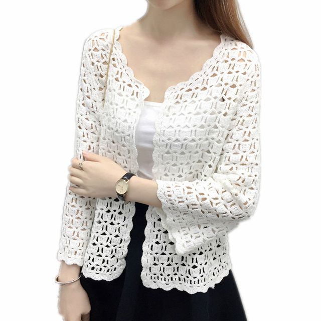 ca890ce6a Women's Short Sleeve Crochet Lace Blouse Female Lace Hollow Out Open  Cardigan Ladies Fashion Tops Casual