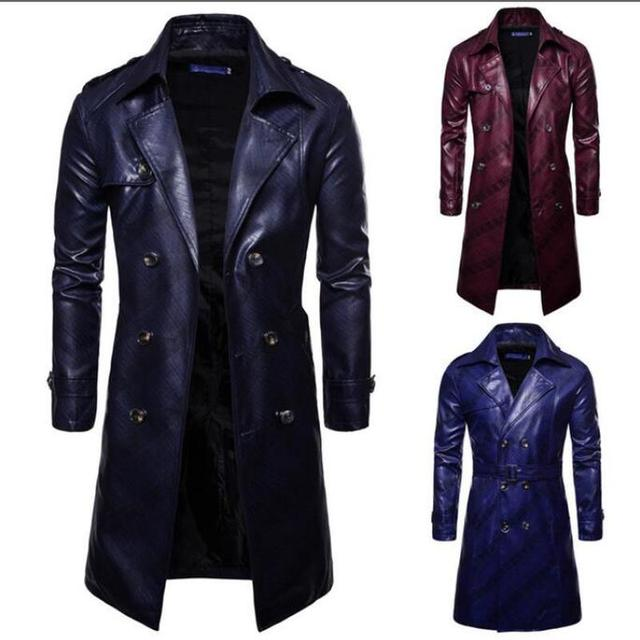 Men Trench Coat Homme  Mens New Fashion Long PU leather Trench Coat Autumn Long Jacket For Men Slim Fit Winter Warm Coat Mens 1