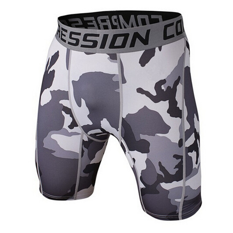 Mens Pantaloni de compresie 2016 Summer Camouflage Bermuda Shorts Fitness barbati Cossfit Bodybuilding Tights Camo Shorts