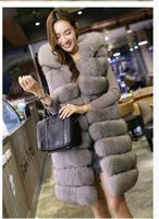 2016 Real Fur Fox Fur Longer Section Round Neck Sleeveless Vest Red Fox Fur Vest Stripe