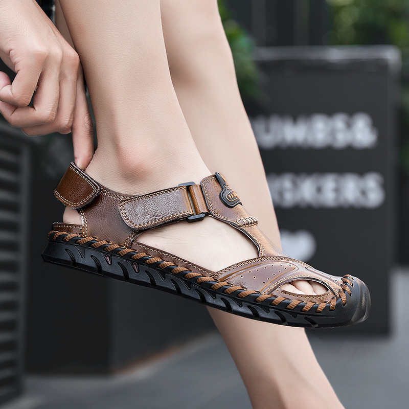 2019 new men 39 s sandals casual leather shoes male summer breathable beach sandal man comfortable outdoor sandals for men hot sale in Men 39 s Sandals from Shoes