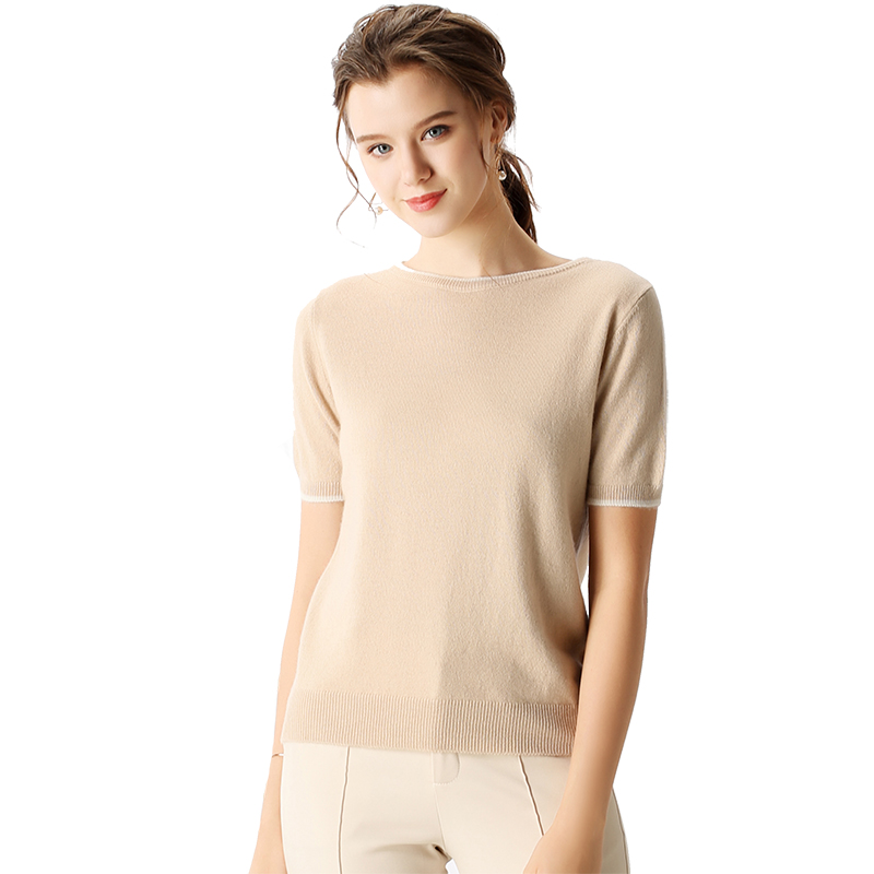 BELIARST 2019 Spring and Summer New Pure Cashmere Short Sleeve Women s Slim Cashmere Sweater Genuine