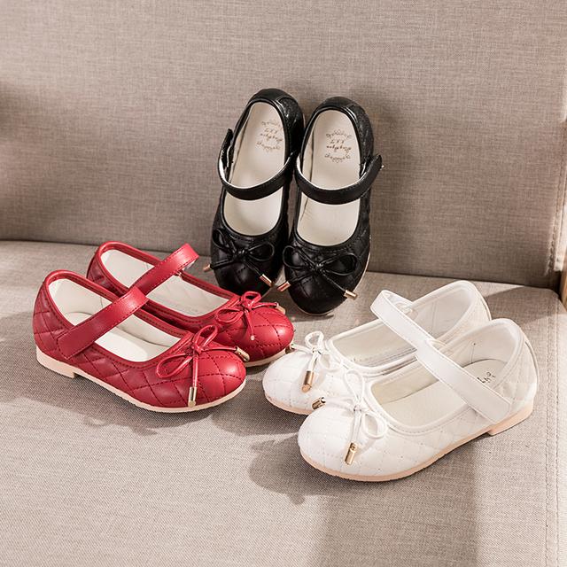 2016 Primavera Outono das Crianças Arco Sapatos de Couro Meninas Princesa Sapatos de Salto Alto todos os match Lazer CRIANÇAS Estudantes de Dança Calçado Plana