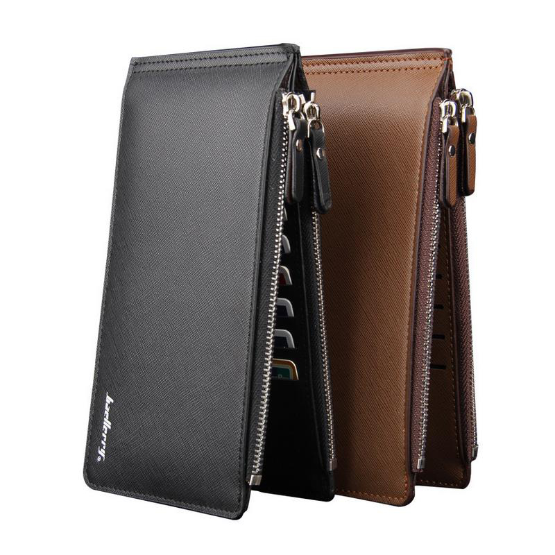 Men PU And Leather Wallet Multifunctional Super Thin Purse  Cross Pattern Long Style Closure Bank Card Money Bag More Card Slot