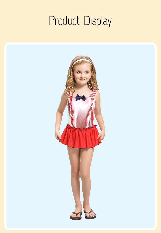 4fe2ebe314 Girls One Piece Swimwear Cute Kids Swimsuit Stripe Beach Swim Skirt Children  Swimdress Baby Bathing Suit Toddler Swimming Suits