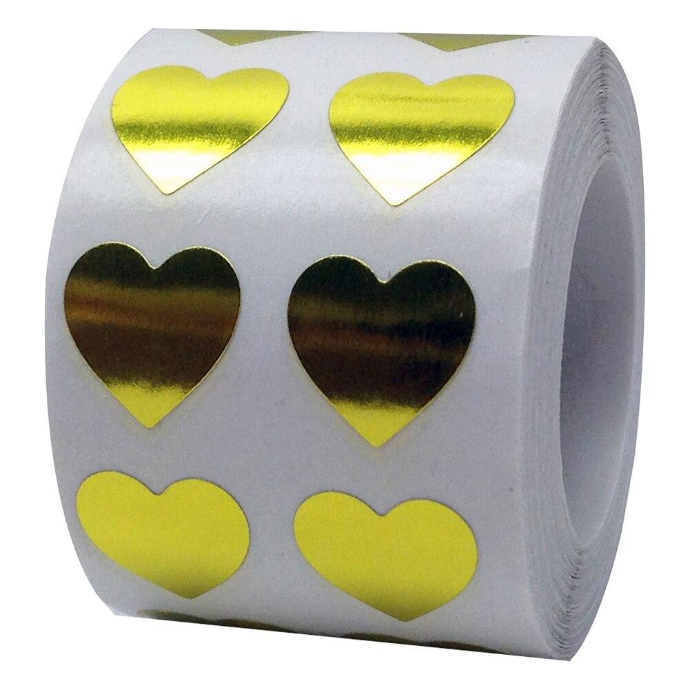 Рулон Любовь Сердце этикетки наклейки свадебный подарок упаковка герметизация Искусство Наклейка упаковка мешок - Цвет: Golden