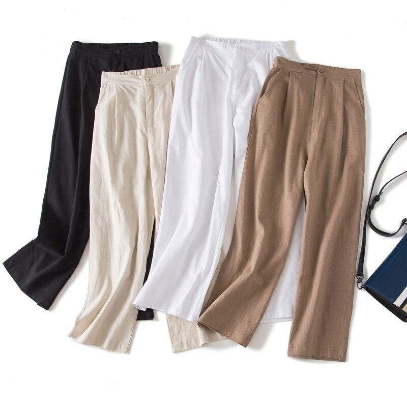 White Cotton Linen   Pants   For Women Trousers Loose Casual High Waist   Wide     Leg     Pants   Solid Color Plus Size Women's   Pants   3XL Q1656