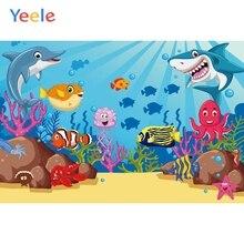 Yeele Vinyl Fish Mermaid Shark Stone Ocean Birthday Party Photography Backdrop Children Photographic Background Photo Studio