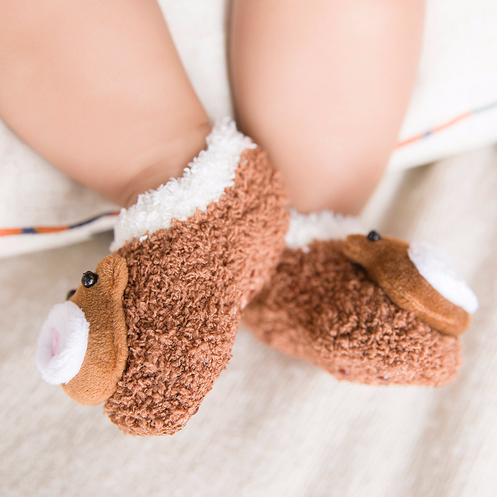 0 18 Months Baby Socks Autumn and Winter New Cute Doll Baby Socks Baby Warm Non slip Toddler Socks 5 Colors in Foot Socks from Mother Kids