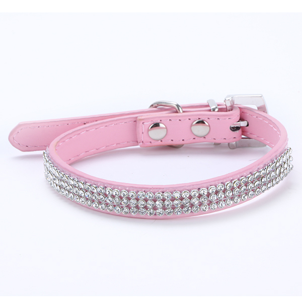 Hot Sales High Quality! 3 Rows Bling Rhinestone Small Pet Dog PU Leather Buckle Cute Cat Crystal Collar