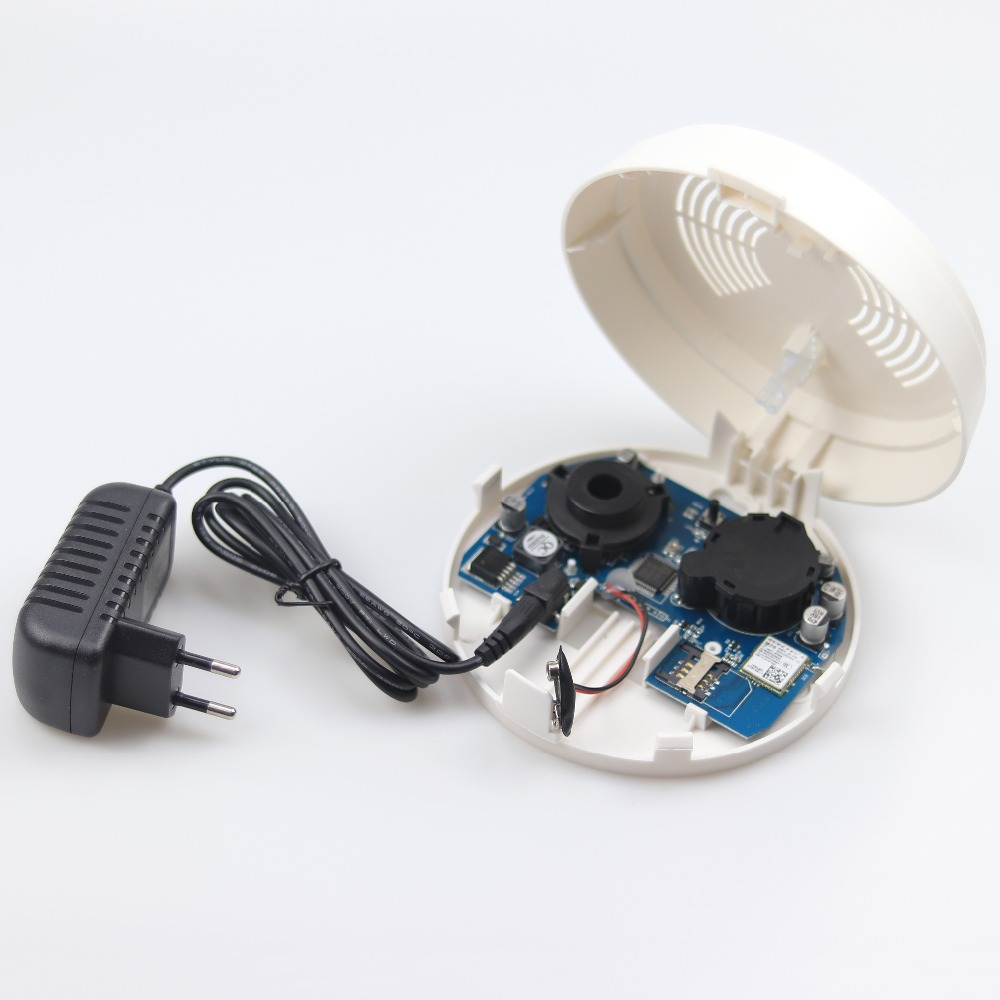 GZGMET White SIM Card Cell Phone Slot Quad Band SMS Intelligent GSM Smoke Detector Home Security Alarm Sensor