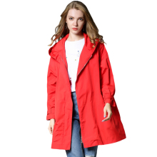 2017 New winter Loose fashion Coat large size Casual Trench Waterproof hooded zipper Trench coat Plus-size women's clothing
