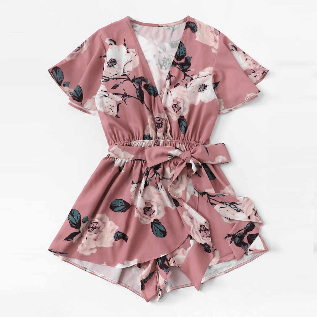 Monos Verano 2019 Mujer Playsuit Women V-Neck Bow Sashes Floral Printing Short Sleeve Romper Ladies Summer Shorts Playsuit