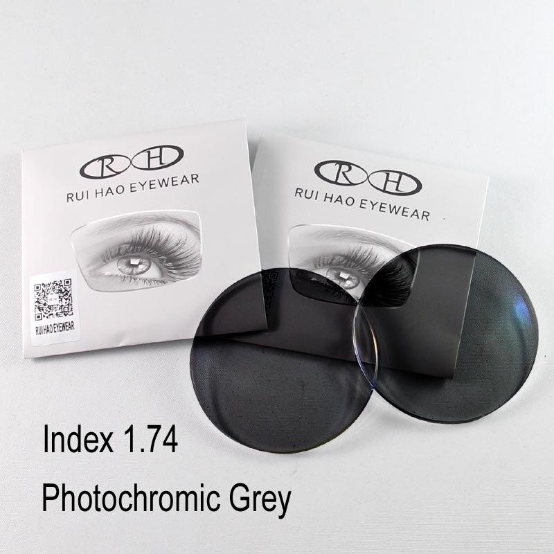 1.74 lentilles 2 pièces lentilles photochromiques Prescription lentilles asphériques Rui Hao lunettes Ultra-mince optique myopie lunettes