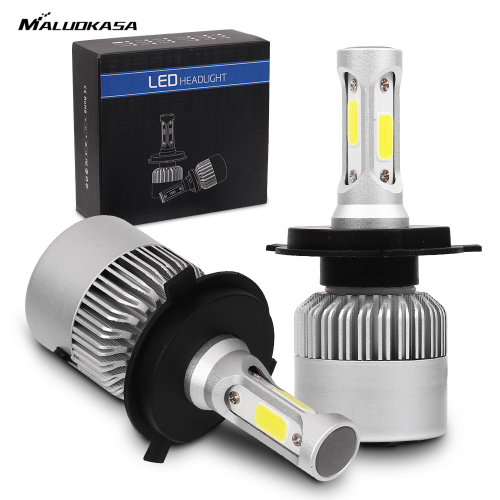 MALUOKASA 2PCs S2 H7 H4 LED Bulb Car Headlight H11 H1 H13 H3 H27 9005/HB3 9006/HB4 9007 Hi-Lo Beam 72W 8000LM Auto Headlamp LEDs