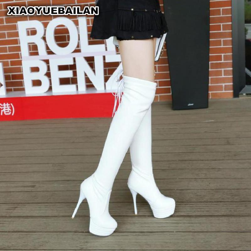 White Long Thigh Boots With Waterproof Super Sexy Child Fine High-heeled Shoes Show Tall Female Drum Club