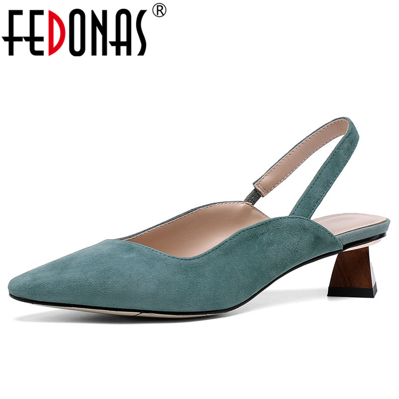 FEDONAS Elegant Vintage Women Pumps 2019 New Women Sandals Spring Summer Kid Suede Prom Party Shoes