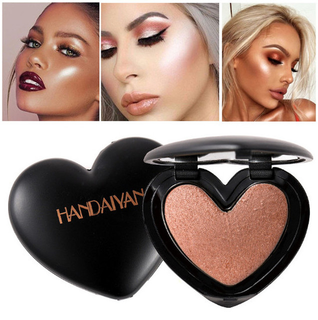 1PC Beauty Makeup Shimmer Love heart shape Highlighter Face Cosmetics Pressed Powder Highlight Palette Brighten Skin Contouring