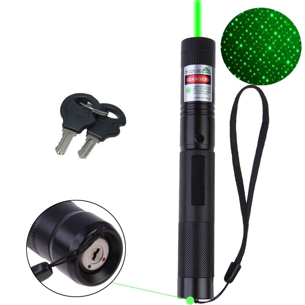 8000-10000 Meter Leistungsstarke Grüne Laser 5 mw Military 532nm Mit Sternkappe taschenlampe Einstellbarer Fokus großhandel