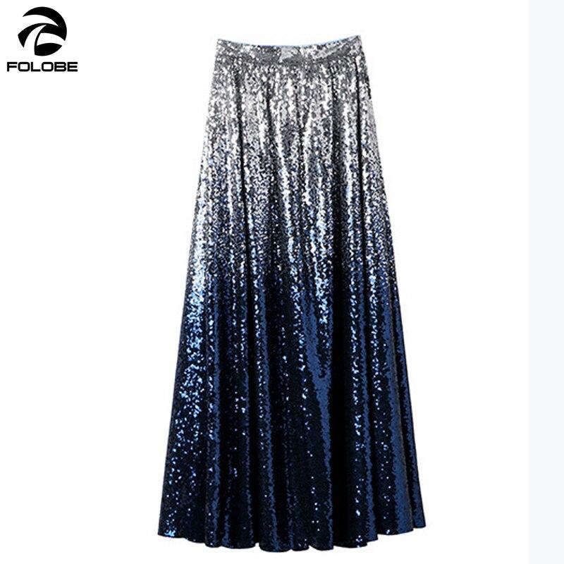 FOLOBE 2019 printemps femmes luxe dégradé paillettes jupe dames élégant décontracté travail bureau fête formelle longues jupes vestido