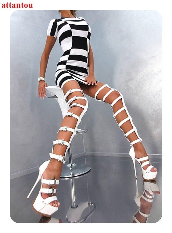 Bottes Spectacle Plate Club Picture Chaussons Multiples Femme As genou Boucles Femmes Talon Chaussures Modèle De Partie Blanc Sandale the forme Over Longue xTHIqHf
