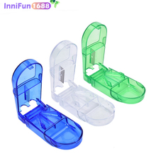 1PCS Mini Useful Portable Storage Box Medicine Pill Holder Tablet Cutter Splitter Case 3Colors