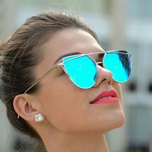 NEW  Hot Sale Mirror Flat Lens Women Cat Eye Sunglasses Classic Brand Designer Twin-Beams  Frame Sun Glasses for Women UV400
