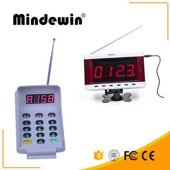 Mindewin New Wireless Calling System Waterproof LED Electronic Number Display M-R-2 And Smart Wireless Calling Keyboard
