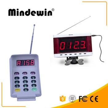 Mindewin nuevo sistema de llamada sin hilos impermeable electrónico LED number pantalla M-R-2 y Smart llamada sin hilos teclado M-T-2