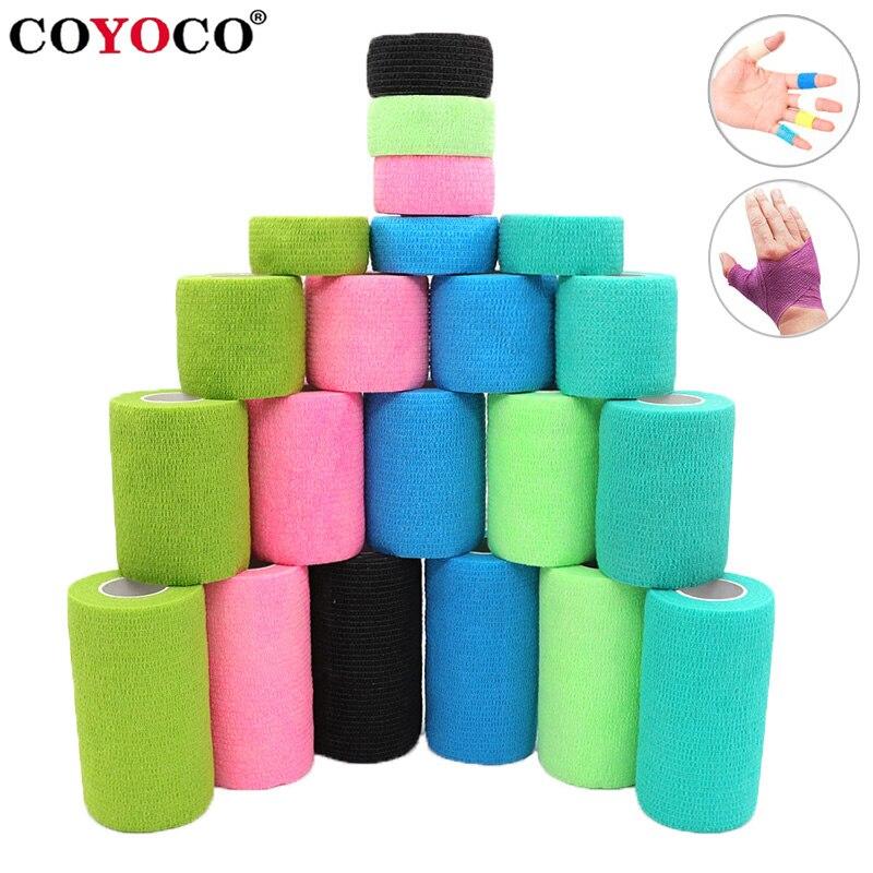 COYOCO Красочные Спорт я самоклеящийся эластичный бандаж защита, накладки для коленей 4,5 м наручные Защита щиколотки Palm фиксатор для плеча кле...