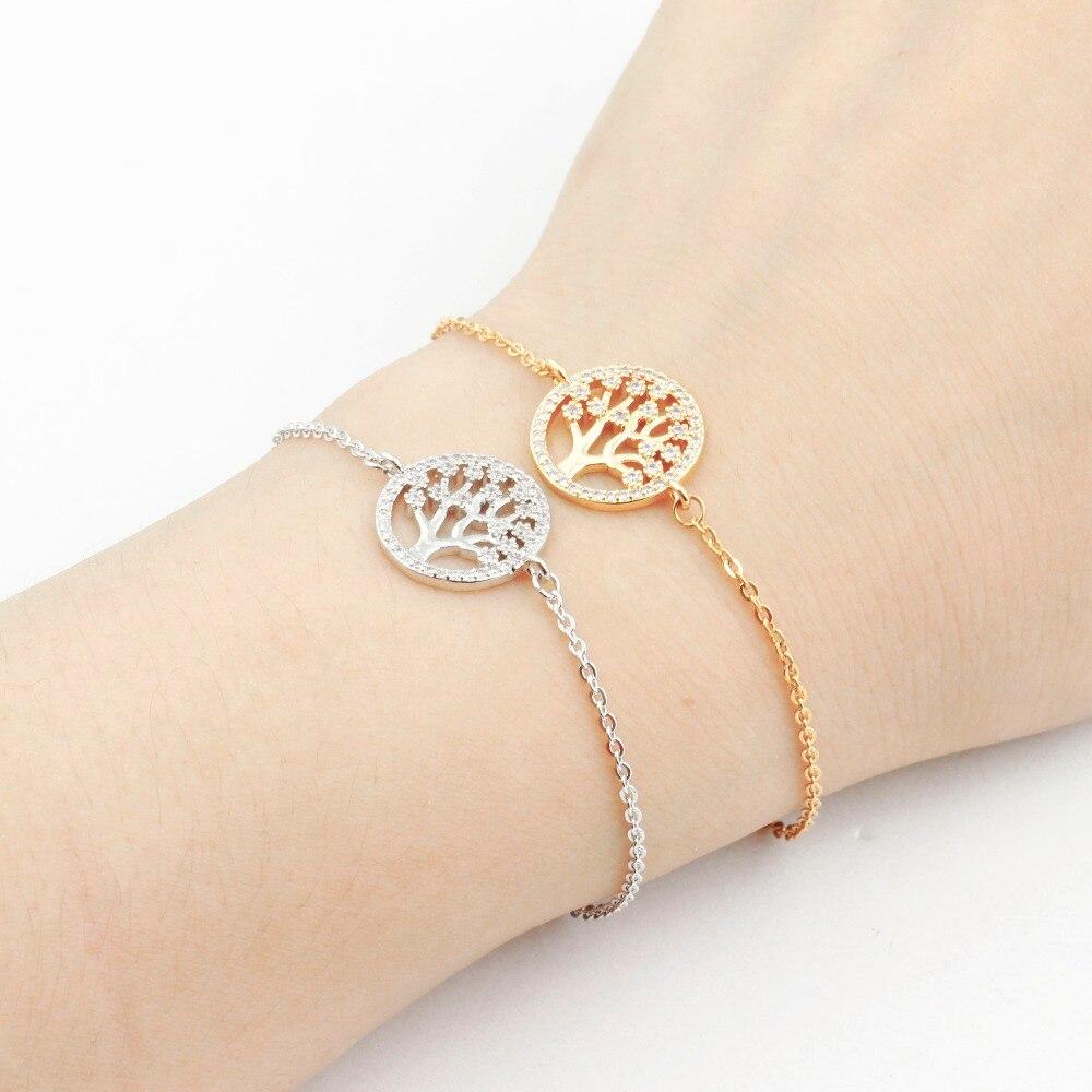 d98185d160b7 CZ Cristal de árbol de la vida suerte pulseras para Mujeres Hombres de  acero inoxidable directo pulseras y brazaletes enlace cadena mejor amigo  regalos en ...